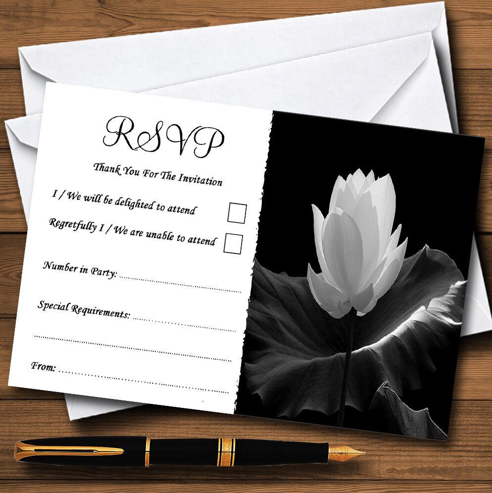 Belle noir blanc fleur personnalisé mariage mariage personnalisé ou fête RSVP cartes 378df1