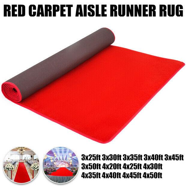 3ft 4ft 20-50ft rot Carpet Floor Runner Rug Wedding Hollywood Runway Party Aisle