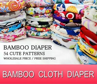 10 PCS WHOLESALE LOTS BABY BAMBOO DIAPER RE-USABLE CLOTH NAPPY+BAMBOO INSERT