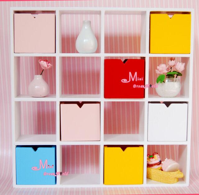 Dollhouse Miniature Pure white WOODEN 16 GIRD SHELF Cubbies Shelf WE32