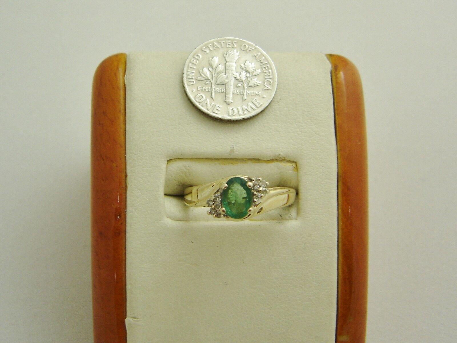10K Yellow gold NATURAL EMERALD DIAMOND RING SIZE 7.5 MAY BIRTHSTONE N217-I