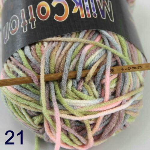 AIP Soft Baby Cotton Yarn New Hand dyed Wool Socks Scarf Knitting 2Skeinsx50g 21