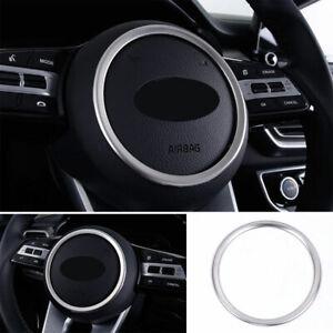 For Kia Seltos 2020-2022 Inner Steering Wheel Horn Ring Trim Silver Steel 1PCS