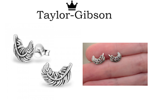 925 Sterling Silver Feather Studs Earrings 3D Cute UK Seller