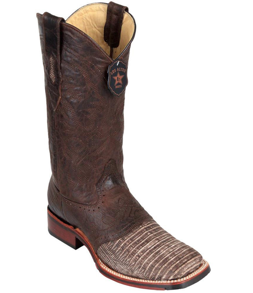 Los Altos Marroneee Teju Lizard Square Toe TPU Rubber Sole Western Cowboy avvio EE+