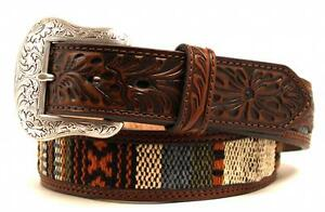 Nocona Western Mens Belt Leather Tooled Ribon Inlay Brown N2419202