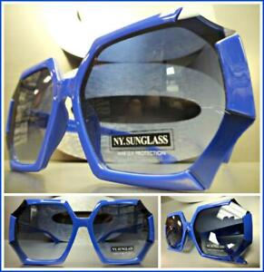New OVERSIZED EXAGGERATED VINTAGE RETRO Style SUN GLASSES Square Baby Blue Frame