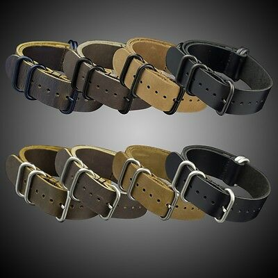 INFANTRY 5 Rings Genuine Leather Watch Band Belts Military Durable 20/22/24MM