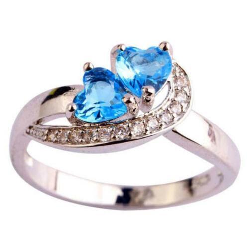 Fashion Heart Blue White Gemstone Jewelry Women Silver Ring Size 6 7 8 9 BT
