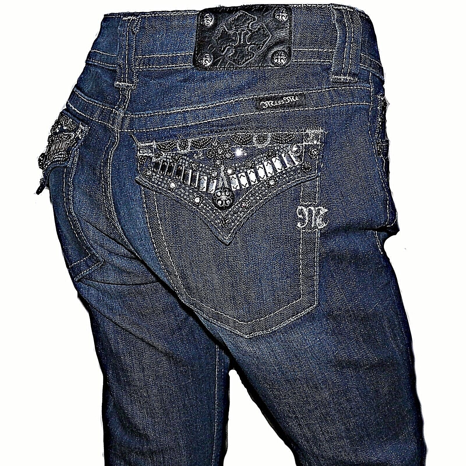 Miss Me Wulstig Strass Pattentasche Blaue Hautenge Denim Jeans 31 X 36