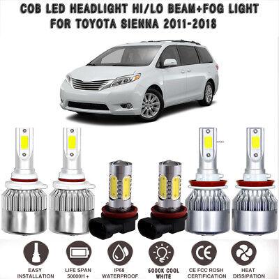 6x For Toyota Sienna Combo COB 8000K LED Headlight Kit Hi Low+Fog Light 2011-18