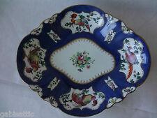 "Crown Staffordshire T G Goode Scale Blue Exotic Birds Diamond Shape Dish 10"""