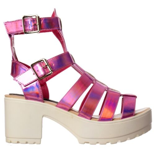 WOMENS GLADIATORS CUT OUT HIGH BACK HOLOGRAM CLEATED SOLE SUMMER SANDALS WEDGES