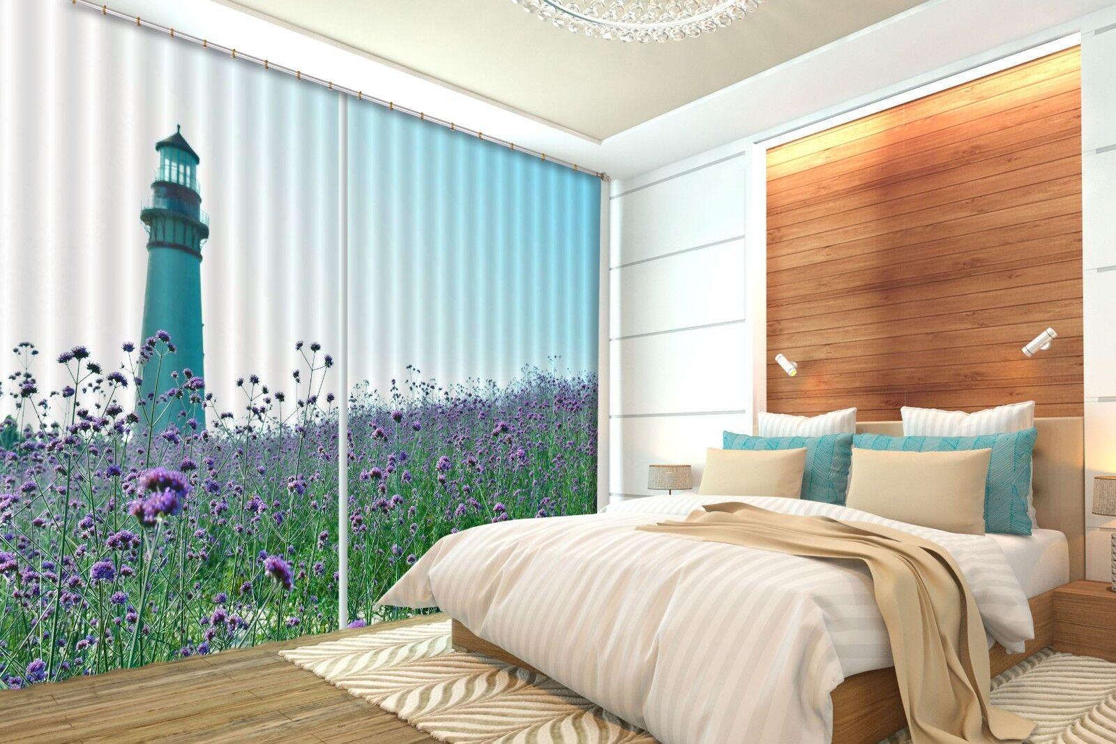 Campo De Flores De Torre 3D 22 Cortinas de impresión de Cortina Blockout Foto nos Cortinas Limón