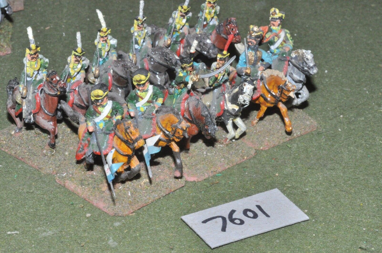 25mm napoleonic   russian - hussars 12 cavalry painted metal - cav (7601)
