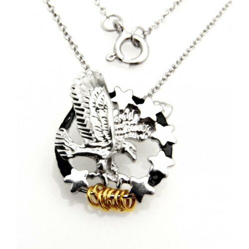 Wish Rings Sterling Silver Eagle and Stars Pendant with Necklace