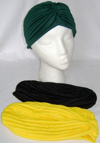 NEW 3 HEAD WRAP INDIAN STYLE TURBAN HAT GREEN YELLOW /& BLACK