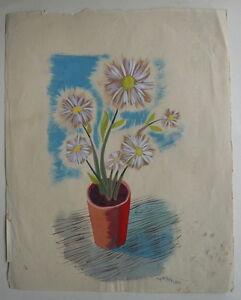 Gouache Sur Papier Etude Bouquet Fleurs 1950 Y Milin 47 Peinture