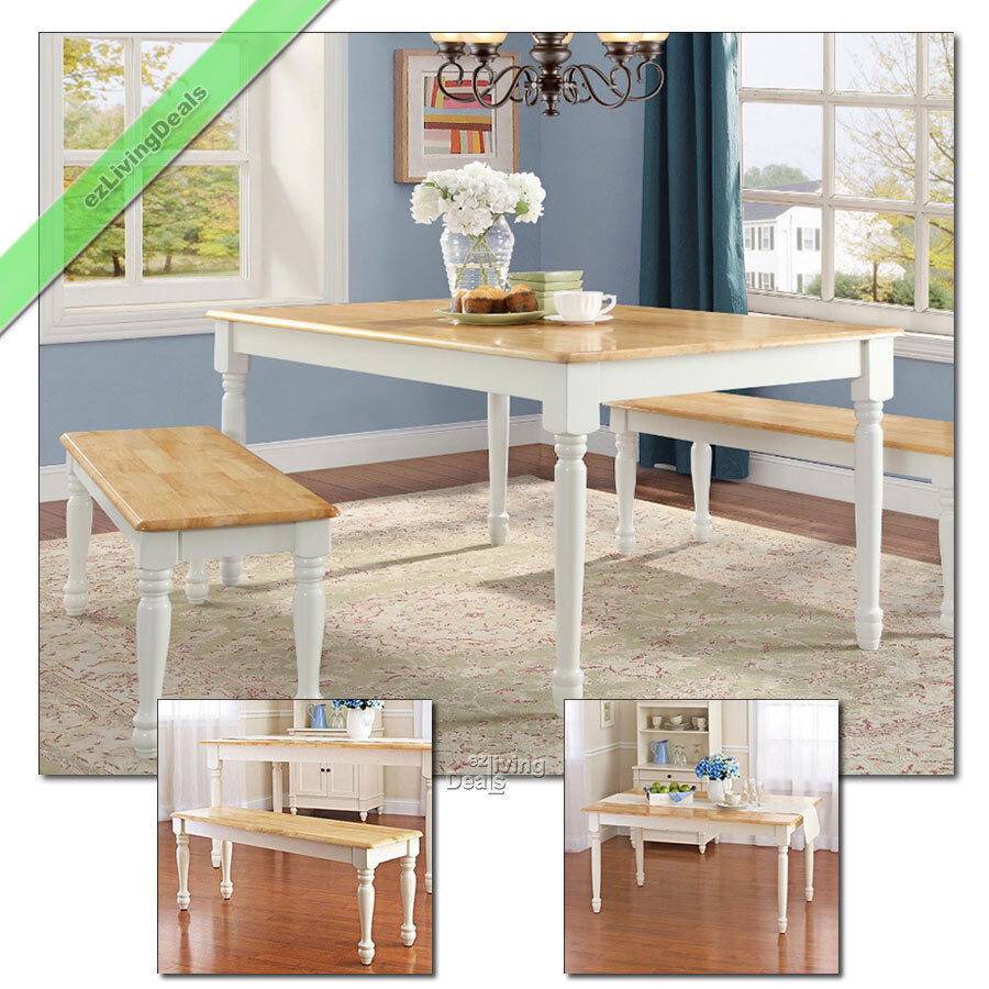 Marvelous Details About Dining Room Set 3 Pc Farmhouse Wood Table 2 Benches Country Kitchen White Oak Gmtry Best Dining Table And Chair Ideas Images Gmtryco