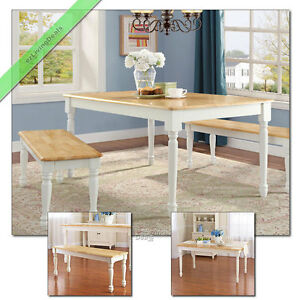 Details About Dining Room Set 3 Pc Farmhouse Wood Table 2 Benches Country Kitchen White Oak