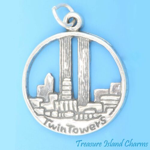 TWIN TOWERS NEW YORK trade center .925 Solid Sterling Silver Charm Pendentif