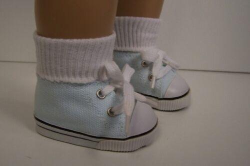 "BLUE Canvas Tennis Deck Doll Shoes For 18/"" American Girl Dolls Light LT Debs"