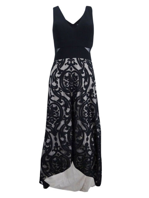 854c03ea Xscape Womens Black Floral Print High-low Formal Evening Dress Gown ...