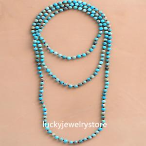 6mm-Blue-Sea-Sediment-Jasper-Round-Knot-Layering-Long-Necklace-For-Women-Z0189