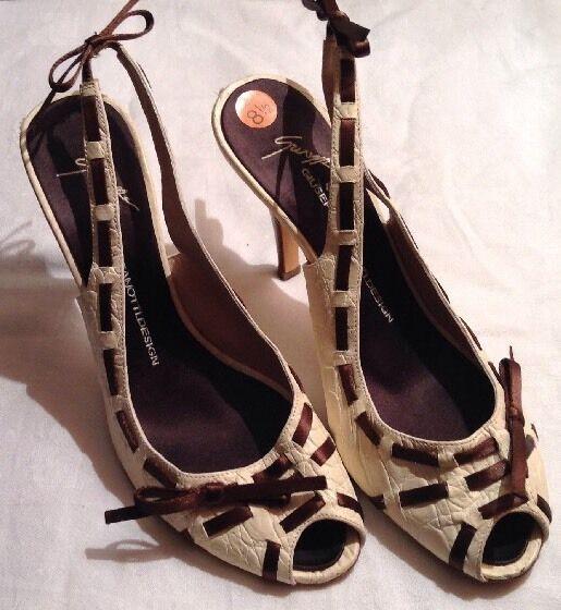 Giuseppe Zanotti Shoes Peep Toe Heels Vicini Cream Brown Italy EU 38.5/ US 8.5