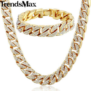 Jewelry-Set-Mens-Yellow-Gold-Filled-Curb-Link-Necklace-Bracelet-Chain-Hip-Hop