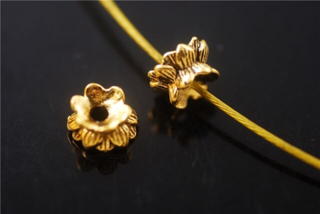 Wholesale 50pcs Golden Metal Beads Loose Spacer Jewelry Charms Findings 5.5x9mm