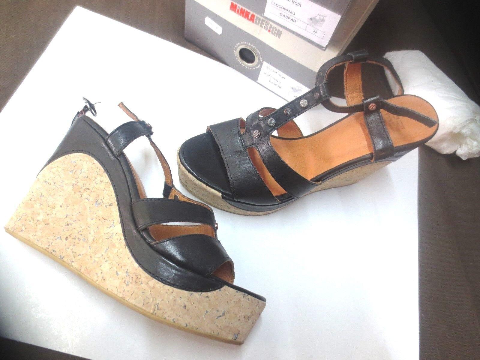 Minka schwarzes Sandale Keil Wert 139E schwarzes Minka Leder neu Schuhgrößen 38,40 5c5dd7