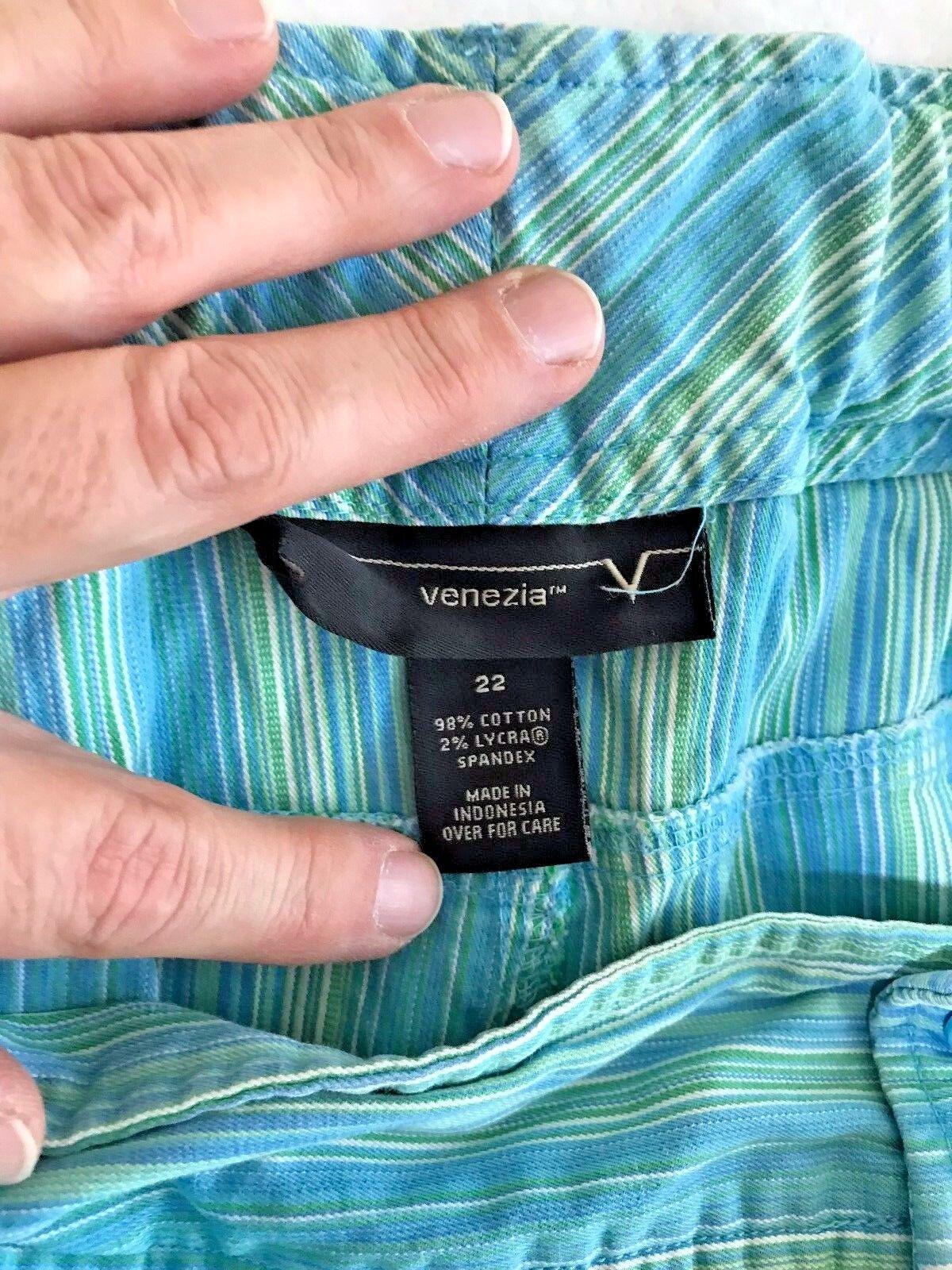 VENEZIA Women's Plus Size 22 Turquoise Green Stri… - image 3
