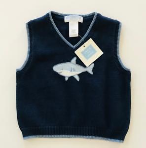 Janie and Jack Baby Boy 12 18 Months Sweater Vest Blue Shark