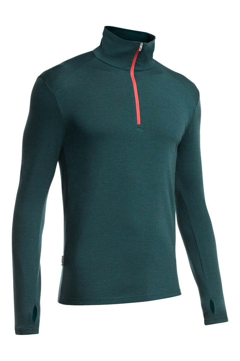 Icebreaker Tech LS Half Zip Top (L) Nori Heather / Clay