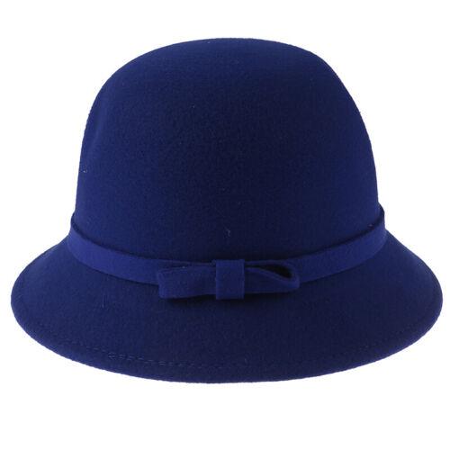 Fashion Women Wool Church Cloche Flapper Hat Lady Bucket Winter Flower CapP0ZY
