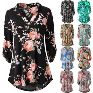 Womens-Long-Sleeve-Floral-Printed-Roll-Up-Top-Casual-Button-Layered-Blouse-Shirt