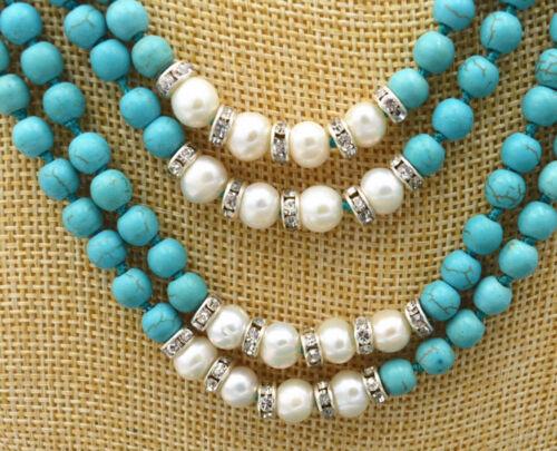4row 6 mm Naturel Turquoise /& Blanc Eau Douce Perle Cristal Collier PN1173