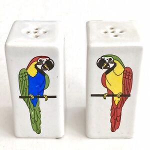 Vintage Ceramic Acapulco Souvenir Salt & Pepper Shakers With Colorful Parrots