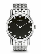 Bulova Men's 96D106 Diamond Markers Black Dial Stainless Steel Dress Watch