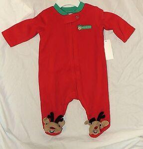 33741dcaac New Baby My First Christmas Pajamas w Feet Newborn Reindeer Rudolph ...