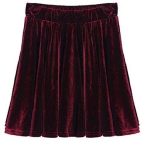 Vintage High Waisted Velvet A-line Short Elasticized Soft Skirt Gift