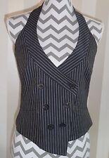 Karren Millen pinstriped waist coat halter neck blue grey white fitted