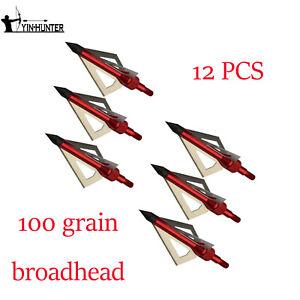 6//12pcs Archery Rotating Broadhead 100Grain Red Arrow Point Hunting Arrow