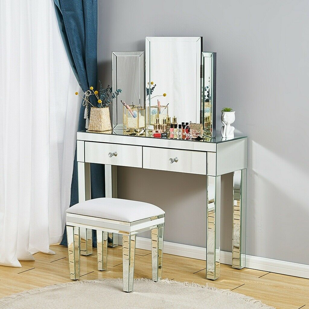 High Gloss Dressing Table White Wood Make Up Stand Vanity Mirror Dresser Bedroom For Sale Ebay