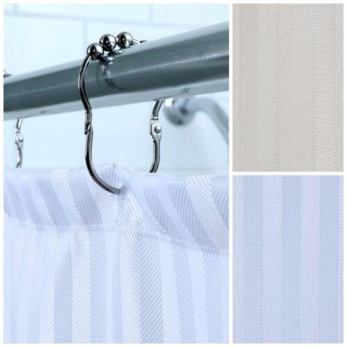 Satin Stripe Hotel Fabric Shower Curtain x 72 in 70 in White or Cream Curtain