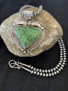 Mens-Navajo-Green-Spiderweb-Turquoise-Sterling-Silver-Necklace-Pendant-Set-815