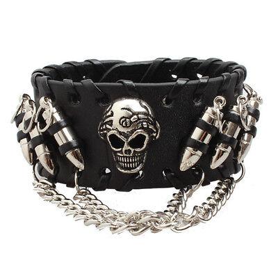 Mens Leather Wrist Band Gothic Punk Rock Heavy-Metal Biker Bracelet Wristband