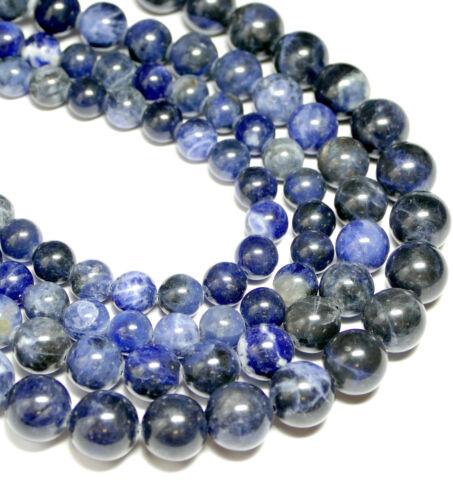 1 Strang BACATUS Edelstein #4393 Sodalith Kugel Perle Blautöne glanz 4-16 mm