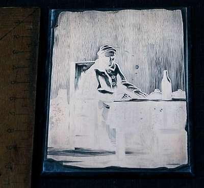 Mann Beim Essen Galvano Druckplatte Klischee Eichenberg Printing Plate Copper Erfrischend Und Wohltuend FüR Die Augen